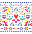 mexican folk art vibrant seamless pattern vector image