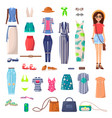 modern young girl with big summer outfits set vector image vector image