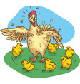 mother hen and chickens vector image