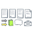 office paper documents and arrows icons set vector image vector image
