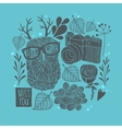 Owl in eyeglasses with horns winter background vector image vector image