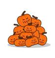 pile of pumpkins for halloween lot of vegetables vector image vector image