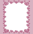 pink valentines frame border with many pink vector image vector image