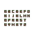 pixel font set game font concept craft concept vector image vector image