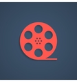 red film reel icon with shadow vector image vector image