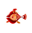 red little glossy fish cartoon funny life vector image vector image