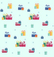 seamless pattern with gifts on blue background vector image vector image