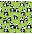 Seamless pattern with sitting cute panda and bambo vector image