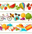 Seamless patterns with stylized summer objects vector image vector image