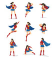 set female superhero in 9 different poses vector image vector image