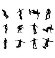 silhouette outlines of skating skateboarders vector image vector image