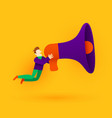 small cartoon man with megaphone announcement or vector image vector image