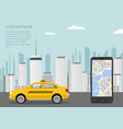 taxi cab smartphone and taxi service application vector image vector image