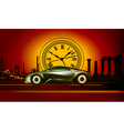 time machine runs to the sunset in the backdro vector image vector image