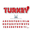 turkey cartoon font with decorative elements vector image vector image
