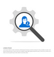 user info icon search glass with gear symbol icon vector image vector image