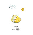 watercolor piece cheese raclette vector image vector image