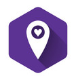 white map pointer with heart icon isolated with vector image vector image