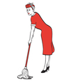 Woman cleaning the house vector image vector image