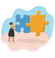 woman with puzzle vector image