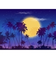 Big yellow moon with dark palms silhouettes on vector image vector image