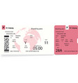 boarding pass ticket template vector image vector image