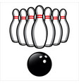 bowling ball and bowling pins easy to edit vector image vector image