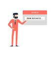 businessman pointing to the link of website vector image