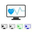 cardio monitoring flat icon vector image
