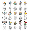 cartoon people playing sports vector image vector image