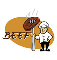 chef and beef vector image