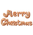Christmas gingerbread text letters sign isolated vector image vector image