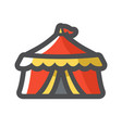 circus tent with flag icon cartoon vector image
