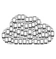 cloud figure of smartphone icons vector image