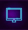 computer neon label vector image vector image