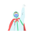 doctor superhero wearing medical mask vector image vector image