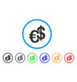 euro and dollar currency rounded icon vector image vector image