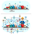 global industrial factory technology process with vector image