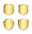 gold shield shape icons set 3d golden emblem vector image vector image