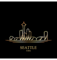 Gold silhouette of Seattle on black background vector image