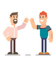 guys greet each other vector image vector image