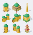 isometric asian buildings set vector image vector image
