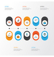 job flat icons set collection of developer pen vector image vector image