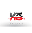 kz k z brush logo letters with red and black vector image vector image