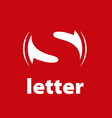 logo letter S on a red background vector image vector image