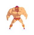 professional muscular wrestler standing in pose vector image