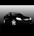 realistic car front view in the dark black car vector image