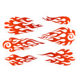 red to orange gradient flame elements vector image vector image