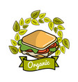 sandwich icon with leaves organic concept vector image