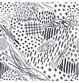 seamless pattern with hand drawn abstract lines vector image vector image